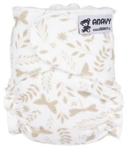 Butterflies (beige) Fitted diaper snapless