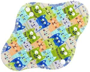 Cats II. (green) Menstrual pad with fleece