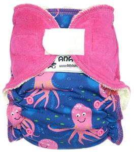 Octopus (pink) Fitted diaper with velcro