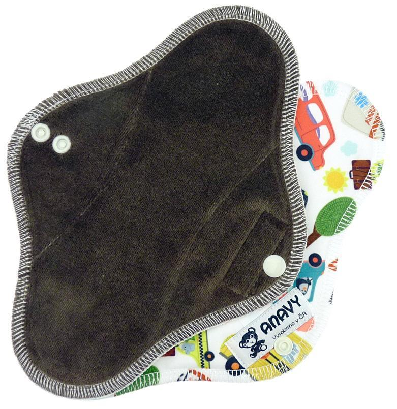 Dark brown/City traffic Menstrual pad with PUL