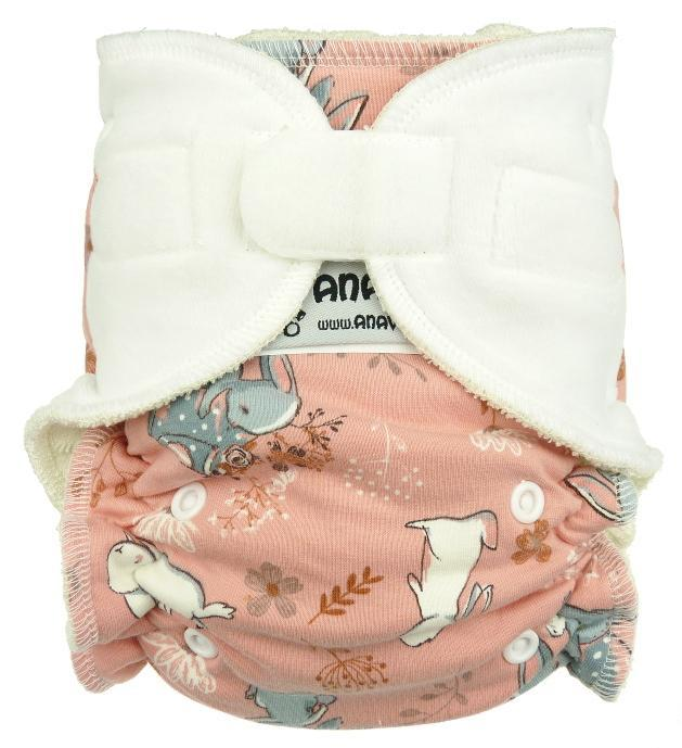 Rabbits (pink) Fitted diaper with velcro