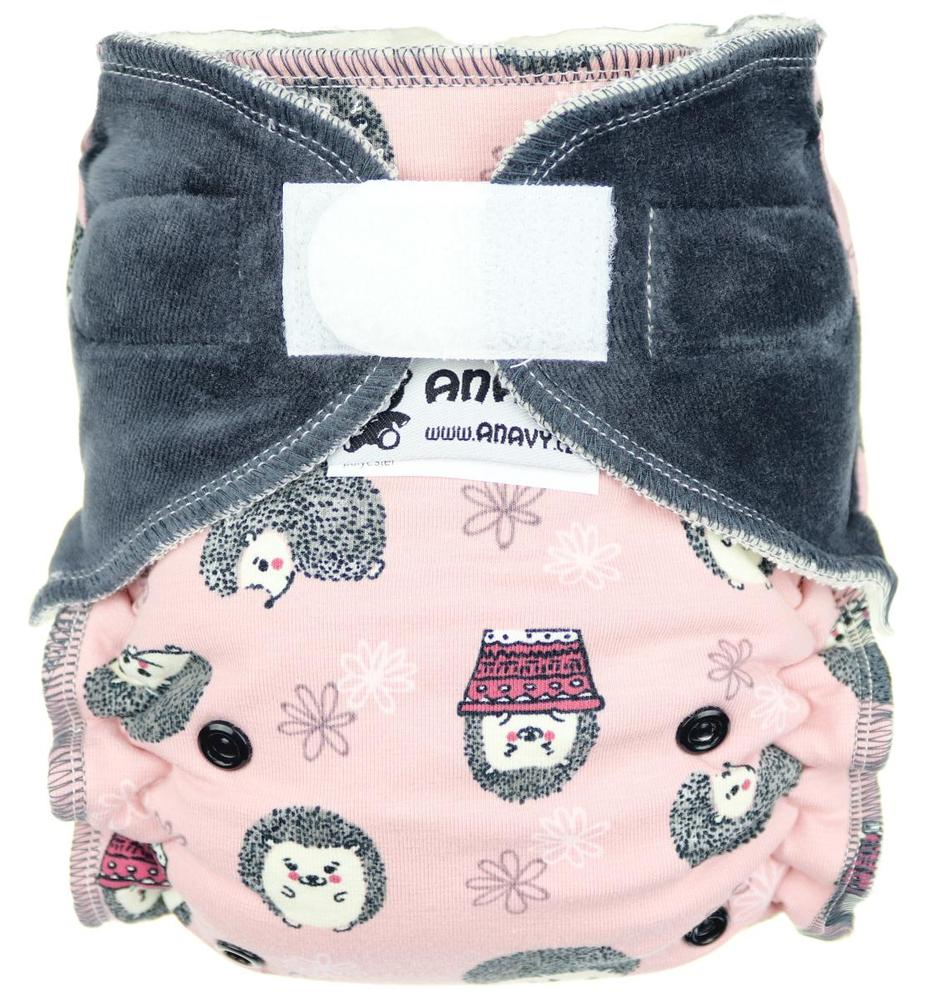 Hedgehog II. (pink) Fitted diaper with velcro