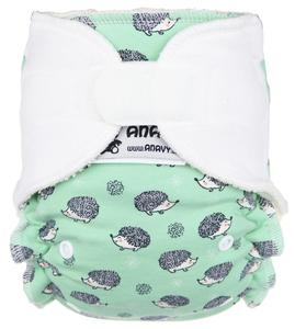 Hedgehogs (light green)/White Fitted diaper with velcro