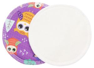 Cream/Owls (violet) (PUL) Nursing pads