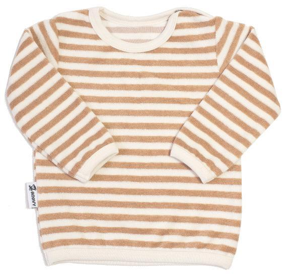 Organic cotton terry - Brown stripes Tričko s dl. rukávem