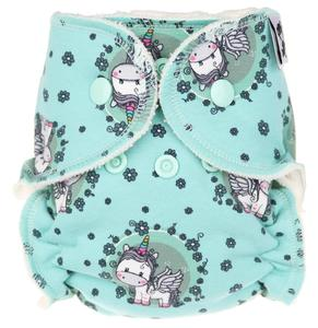 Unicorns in the meadow Fitted diaper with snaps