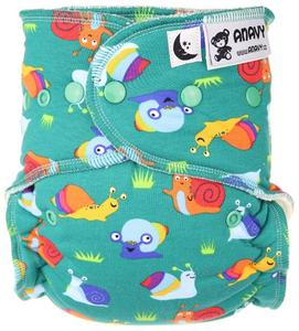 Snails Fitted diaper with snaps