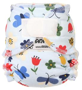 Meadow (light blue) Fitted diaper with velcro