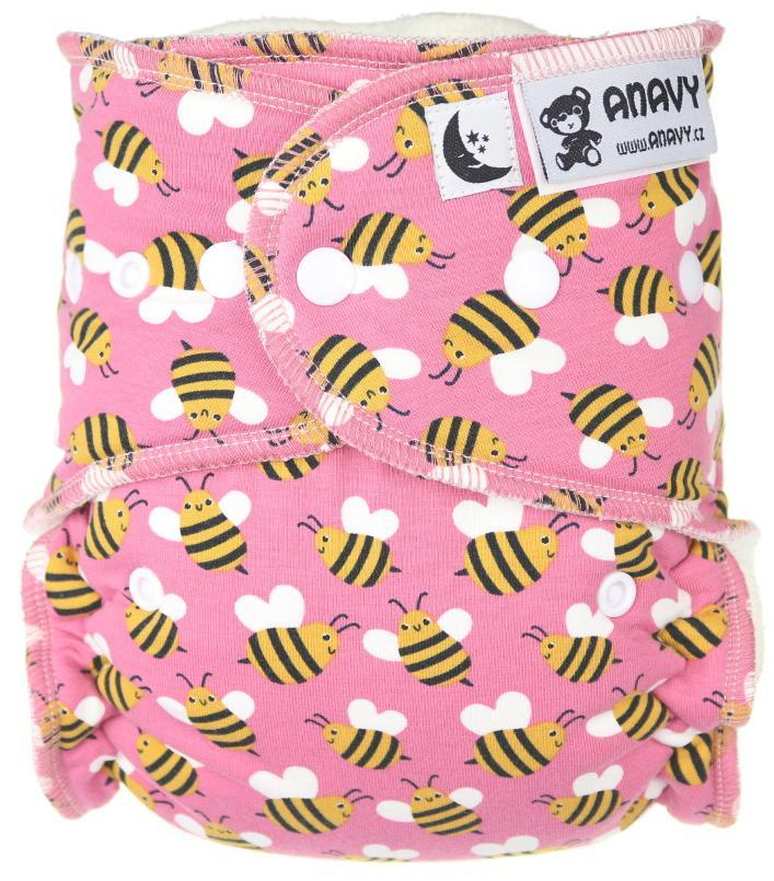 Bees (pink) Fitted diaper with snaps