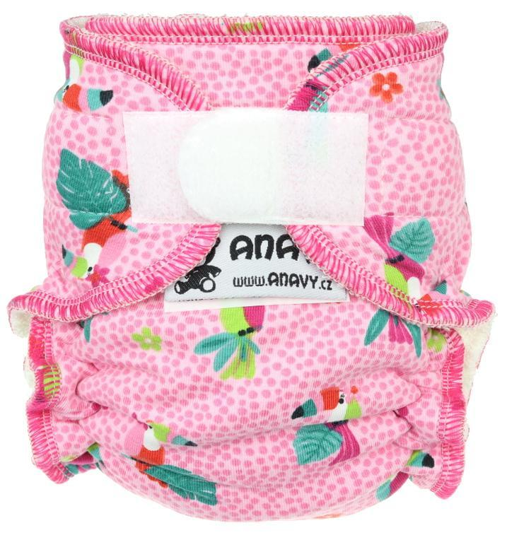 Parrots (pink) Fitted diaper with velcro