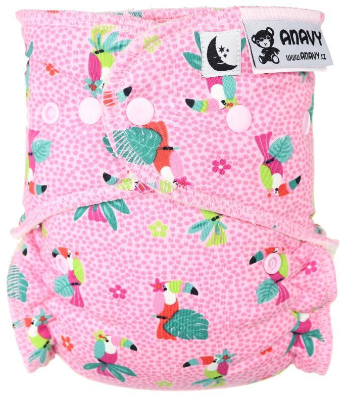 Parrots (pink) Fitted diaper with snaps