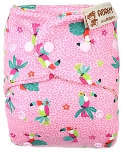 Parrots (pink) Wool diaper cover with snaps
