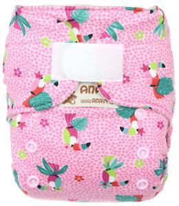 Parrots (pink) Wool diaper cover with velcro