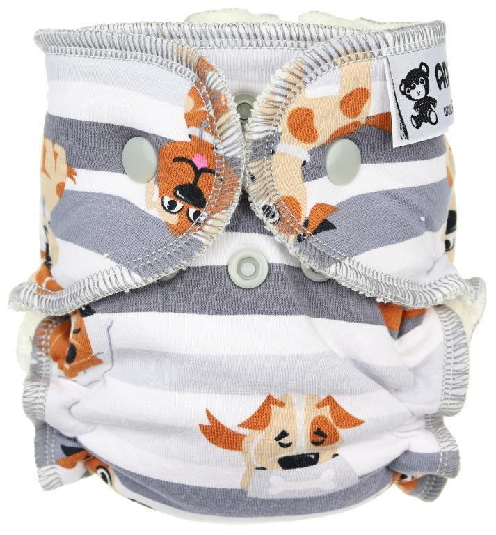 Dogs (grey) Fitted diaper with snaps