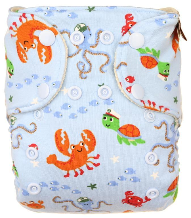 Ocean Wool diaper cover with snaps
