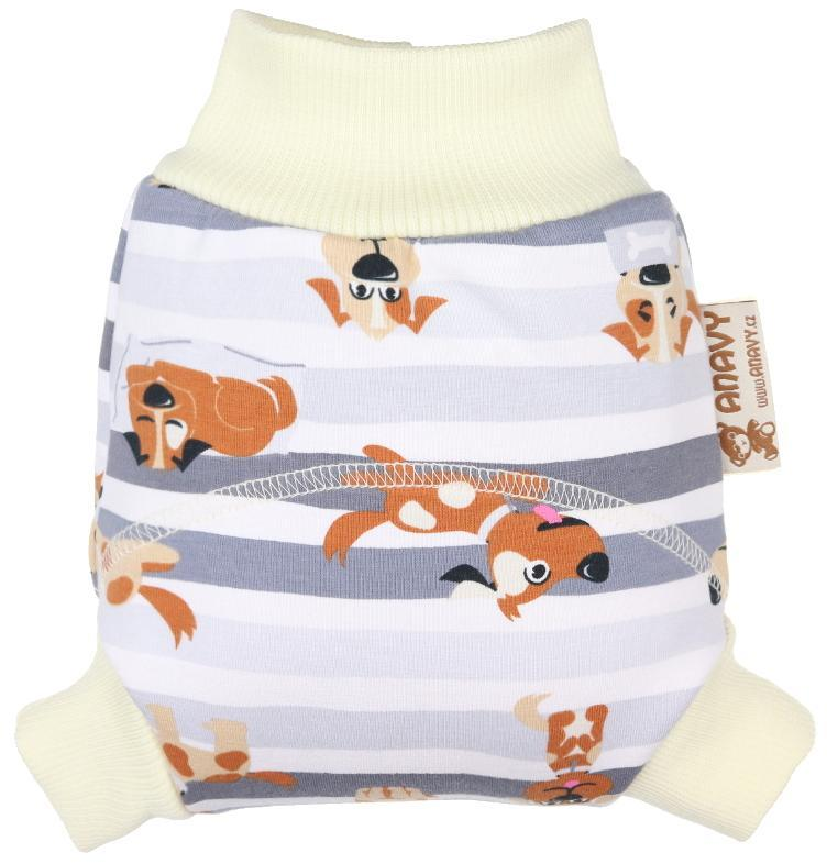 Dogs (grey) Wool diaper cover pull-up