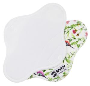 White/Bird in a meadow Menstrual pad with PUL