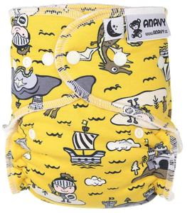 Knight (yellow) Fitted diaper with snaps