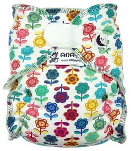 Colorful flowers II. quality Fitted diaper with velcro