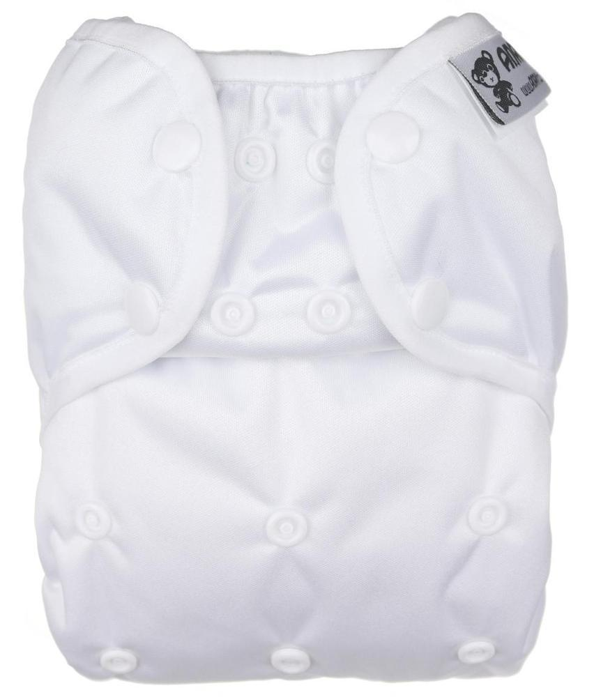 White II. quality PUL diaper cover with snaps