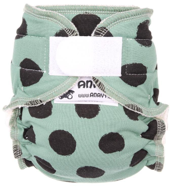 Black dots (khaki) Fitted diaper with velcro