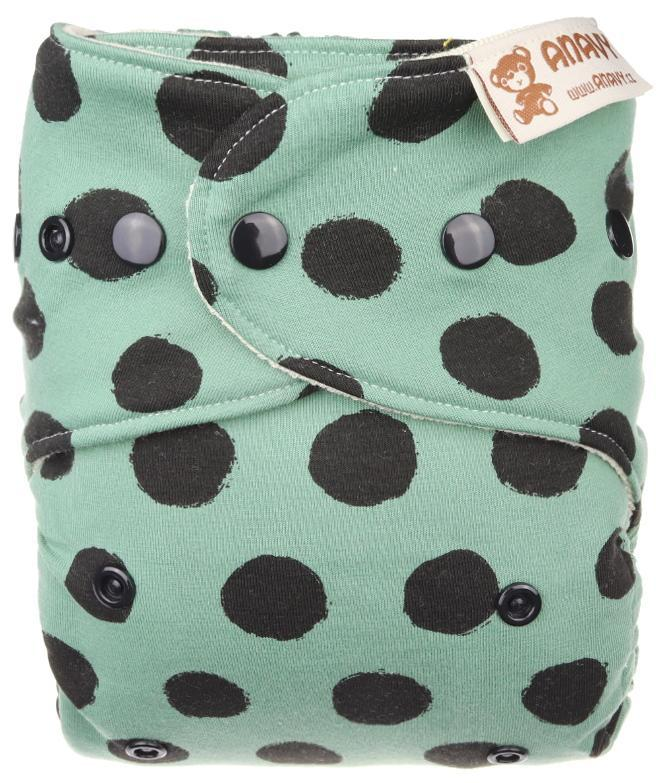 Black dots (khaki) Wool diaper cover with snaps