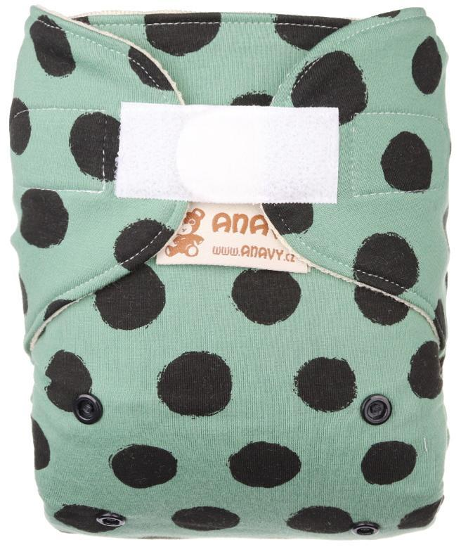 Black dots (khaki) Wool diaper cover with velcro