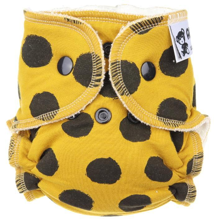 Black dots (mustard) Fitted diaper with snaps