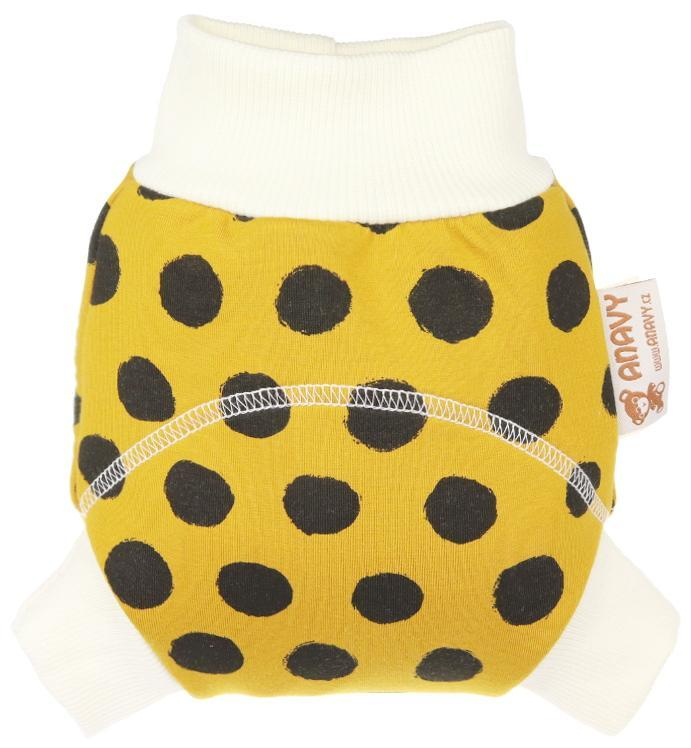 Black dots (mustard) Wool diaper cover pull-up