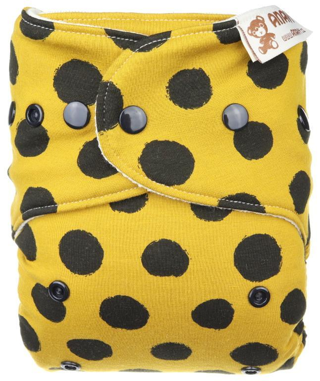 Black dots (mustard) Wool diaper cover with snaps