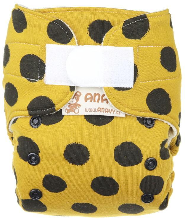Black dots (mustard) Wool diaper cover with velcro