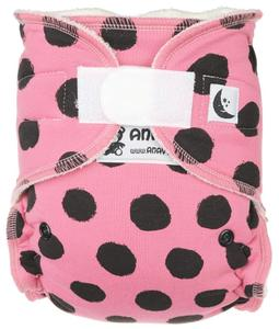 Black dots (pink) Fitted diaper with velcro