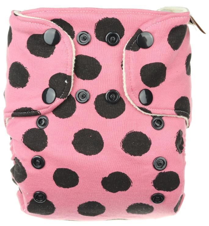 Black dots (pink) Wool diaper cover with snaps