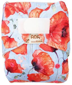 Poppies Wool diaper cover with velcro