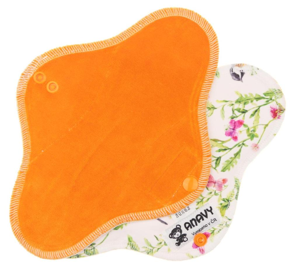 Carrot/Bird in a meadow Menstrual pad with PUL