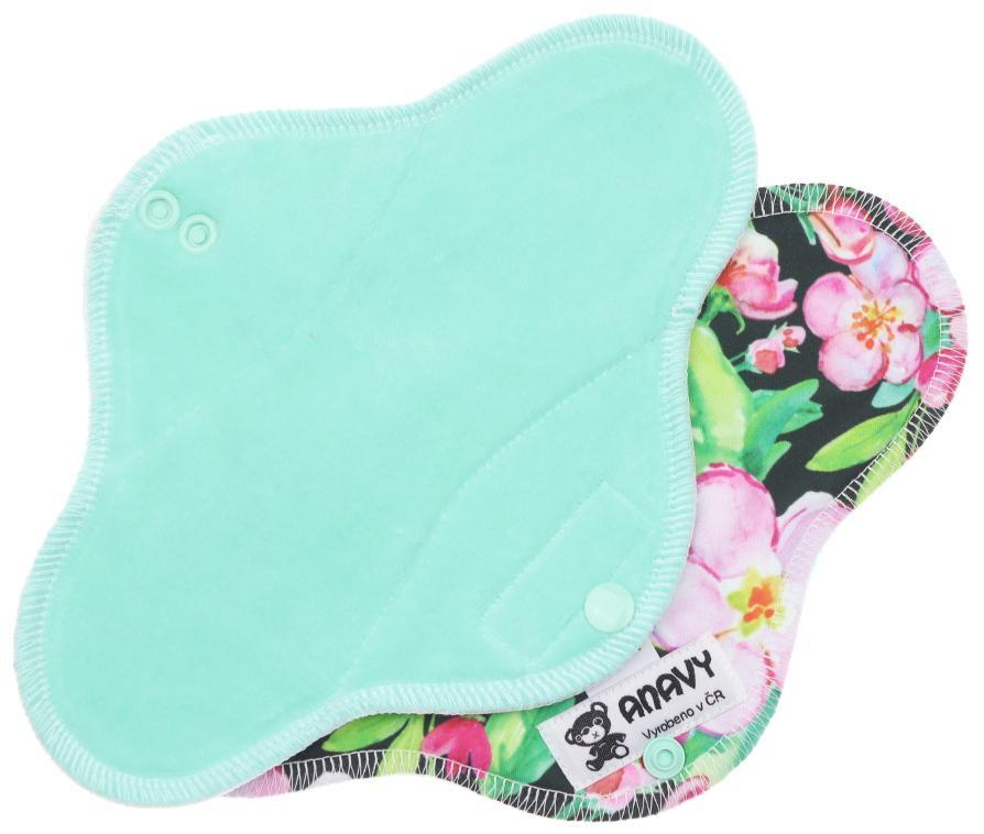 Mint/Pink flowers Menstrual pad with PUL