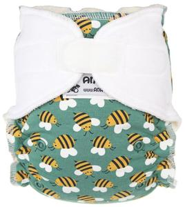 Bees (mint)/White Fitted diaper with velcro