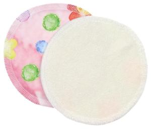 Cream/Flowers and bubbles pink (PUL) Nursing pads