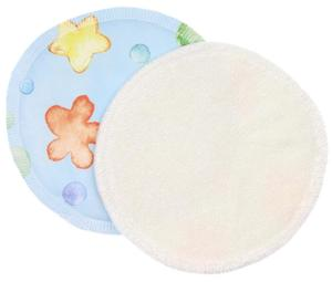 Cream/Flowers and bubbles blue (PUL) Nursing pads