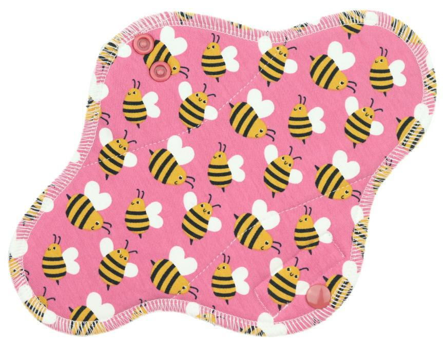 Bees (pink) Menstrual pad with fleece