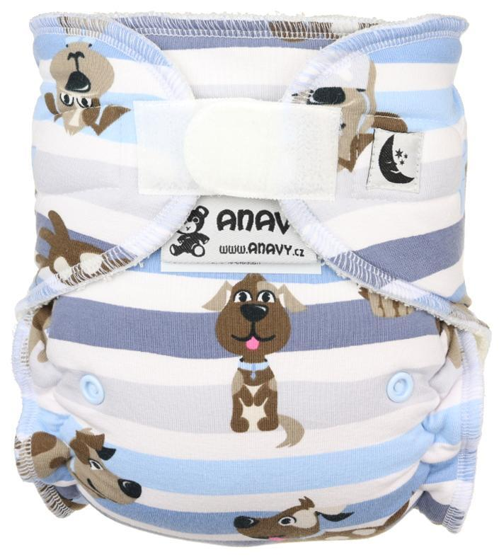 Dogs (blue) Fitted diaper with velcro