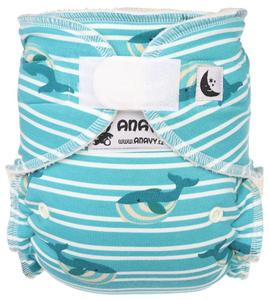 Whales and stripes Fitted diaper with velcro