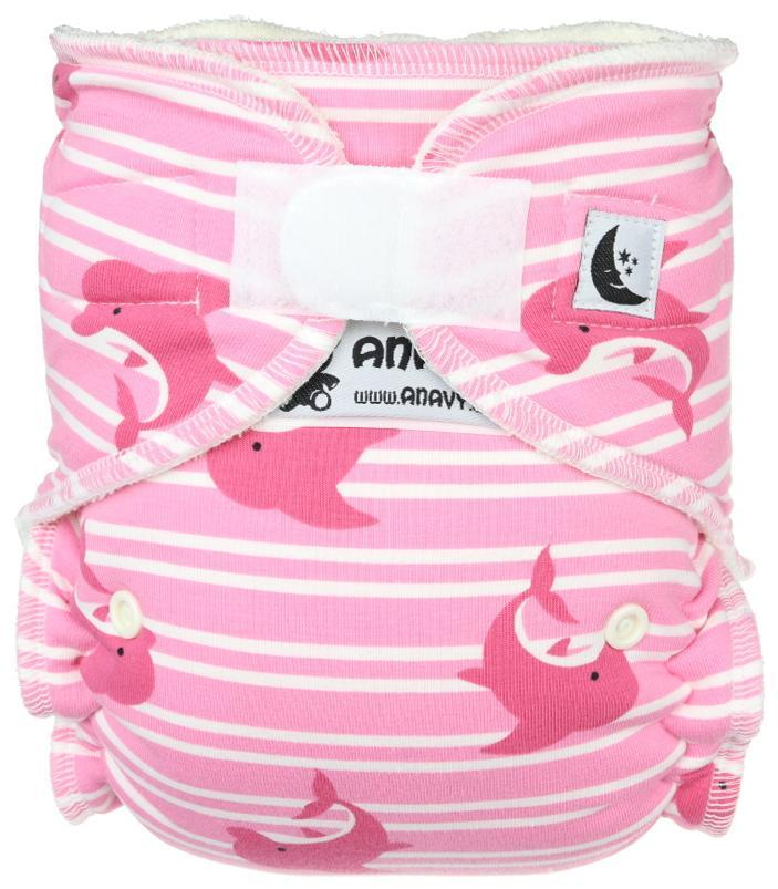 Dolphins (pink) Fitted diaper with velcro