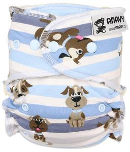 Dogs (blue) Fitted diaper with snaps