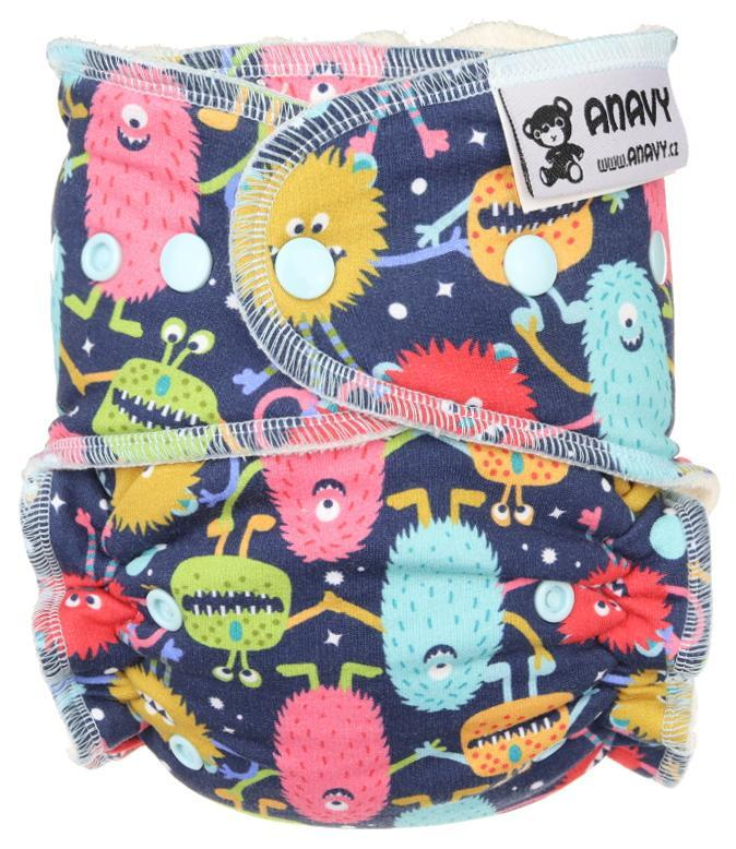 Monsters (dark blue) Fitted diaper with snaps