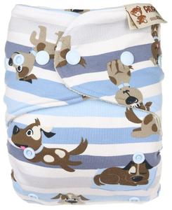 Dogs (grey) Wool diaper cover with snaps