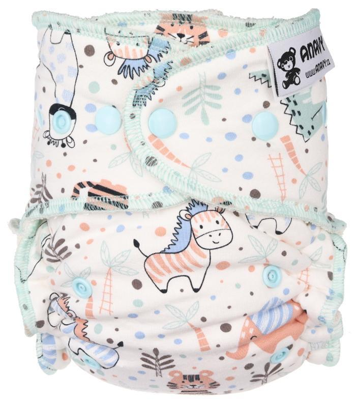 Safari (white) Fitted diaper with snaps