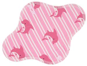 Dolphins and stripes (pink) Menstrual pad with PUL
