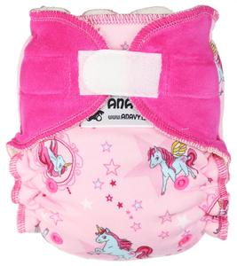 Unicorns (pink) II. quality Fitted diaper with velcro
