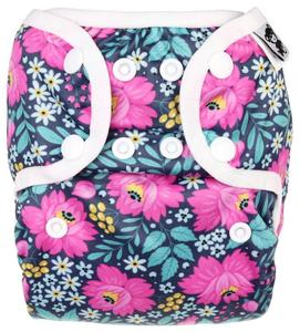 Flowers PUL diaper cover with snaps